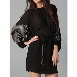Parker dress with batwing beaded sleeves